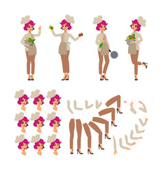 animated cartoon character cook female personage vector image