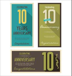 Anniversasry retro background 10 years vector