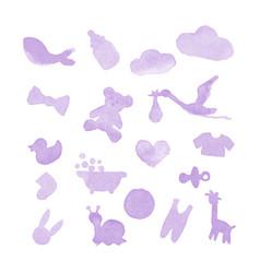 Baby stuff watercolor design elements vector