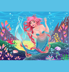 beautiful underwater mermaid with pink hair and vector image