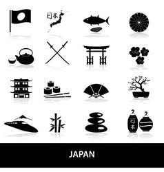 black simple japan theme icons set eps10 vector image