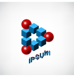 Blue Cubes and Red Ball Logo vector image