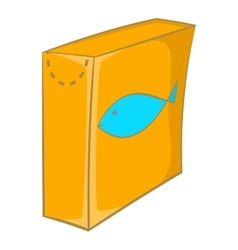 Box with food for cats icon cartoon style vector