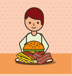 boy cartoon eating hamburger bacon and french vector image