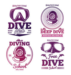 bright diving school or dive club emblem set vector image