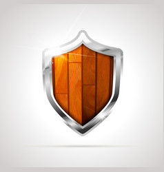 bright metal medieval shield with wooden insection vector image