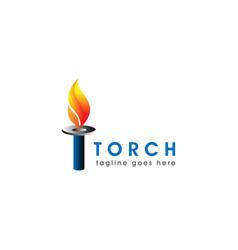 burning torch fire flame with pillar column logo vector image