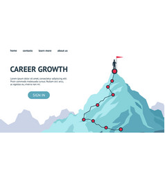 Career growth landing page process journey to vector