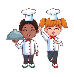 Chefs kids cartoon vector