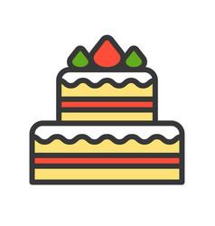 christmas cake christmas related style design vector image