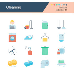 cleaning icons flat design collection 45 vector image