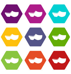 Clogs icon set color hexahedron vector
