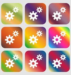 Cog settings Cogwheel gear mechanism icon Nine vector