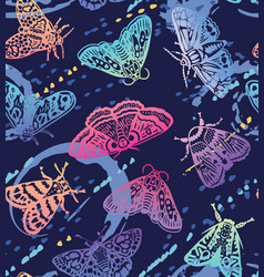 colorful moths with splashes seamless pattern vector image
