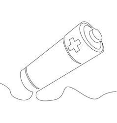 continuous line drawing battery icon outline vector image