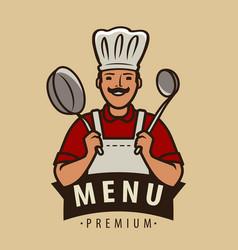 cook logo or emblem restaurant menu cooking vector image