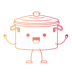 Cooking pot with lid cartoon in degraded red color vector