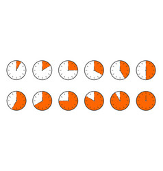 Countdown timer or stopwatch icons set clocks vector