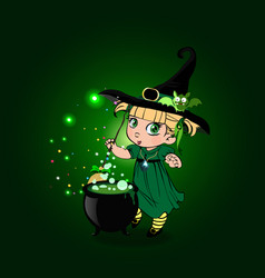 cute baby girl witch with broom and cauldron on vector image
