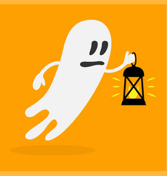 cute ghost character with flashlight halloween vector image