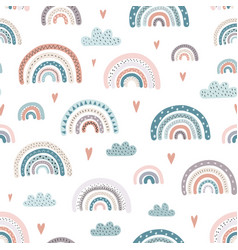 cute rainbows and hearts seamless pattern vector image