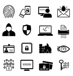 Cybersecurity and online safety icon set vector