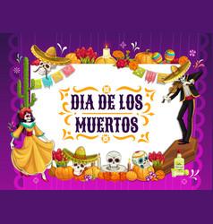 Dia de los muertos skulls dancing skeleton altar vector