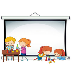 Doodle kids on projector screen template vector