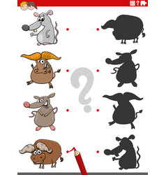 educational shadow game with animal characters vector image