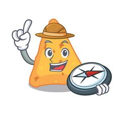 Explorer nachos mascot cartoon style vector