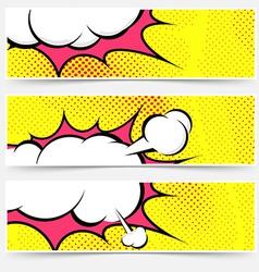 Explosion steam bubble pop-art web header set vector image