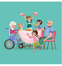 family eating dinner at home happy people eat vector image