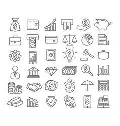 finance line icons vector image