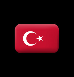 Flag of turkey matted icon and button vector