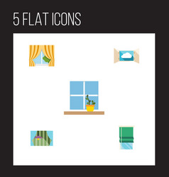 Flat icon window set of glass frame balcony vector