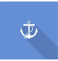 Flat long shadow sea anchor icon vector image