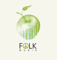 Folk music poster or banner with a green apple vector