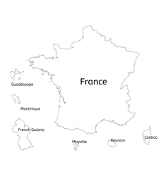 France and franch territory hand-drawn map vector