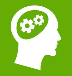 gear in head icon green vector image