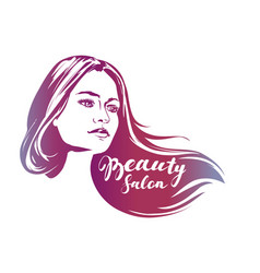 Girl beautiful woman face hand drawn vector