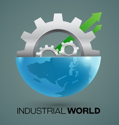 Globes and gears industrial vector image