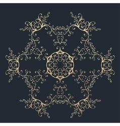Gold round ornament pattern on black background vector