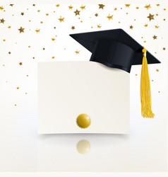 Graduate cap and diploma of graduation vector