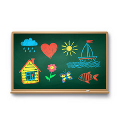 Green chalkboard with kids drawing vector