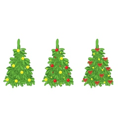 Green fir trees with christmas decorations vector