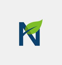 green letter n naturally creative logo design vector image