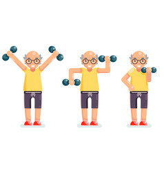 Gymnastics old man grandfather dumbbells exercises vector