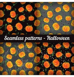 Halloween Pumpkins Set of seamless patterns vector