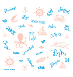 Hand drawn marine elements collection vector