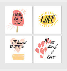 hand made abstract valentines day printable vector image